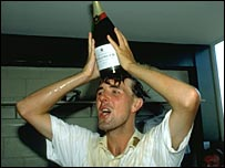 Phil Tufnell celebrates a victory over New Zealand in 1992