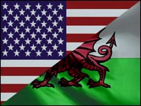American and Welsh flags