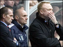 Alex McLeish and his management team watch on grimly