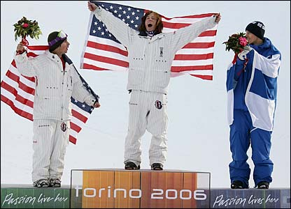 Danny Kass, Shaun White and Markku Koski on the podium
