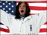 Shaun White celebrates his victory in Italy