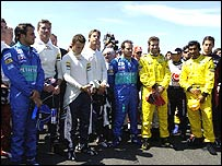 The Grand Prix drivers on the grid at the British Grand Prix