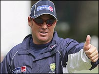 Australian spinner Shane Warne gives the thumbs up during practice