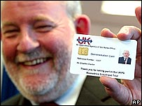 Home Secretary Charles Clarke with an ID card