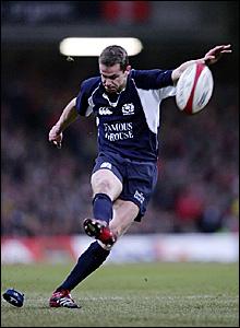 Chris Paterson kicks a penalty for Scotland