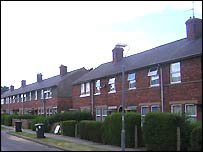 A row of council houses on the Tang Hall estate
