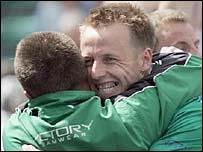 Ireland's players celebrate their win