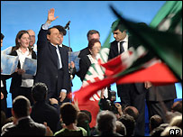 Berlusconi at an election rally