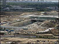 Aerial view of Channel Tunnel rail link in Stratford, east London