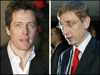 Hugh Grant and Ferenc Gyurcsany (Pics: Getty (L) and AFP)