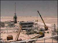 Oil production equipment under construction