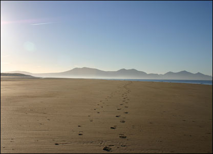 Katharine Meader took this shot of her and her husband's footprints across Caernarfon beach