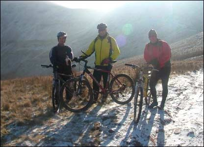 Icy conditions during a cycling trip in the Brecon Beacons, from Vaughan in Ebbw Vale
