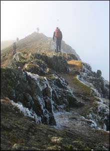 Simon Adey-Davies sent this picture of friend Iolo Roberts from Anglesey on Crib Goch
