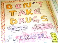Child's school work on drugs