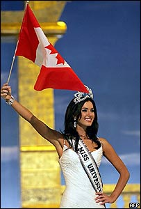 Miss Canada Natalie Glebova after winning the Miss Universe 2005 contest in Bangkok