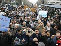 Protestors in Tehran on 3 February