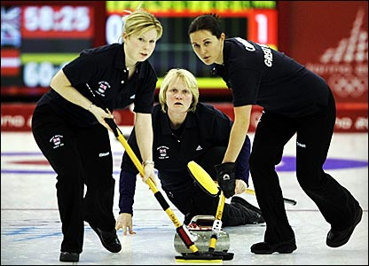 Rhona Martin (centre) guides her team to victory over Denmark