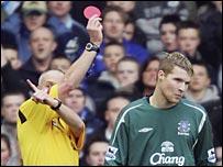 Everton goalkeeper Iain Turner is sent off against Blackburn