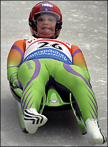Anne Abernathy in practice for the women's luge competition