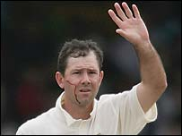 Blood pours from Ponting's face after he is struck by Harmison