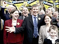 Willie Rennie, with (l-r) Sir Menzies Campbell, Simon Hughes and Chris Huhne behind him
