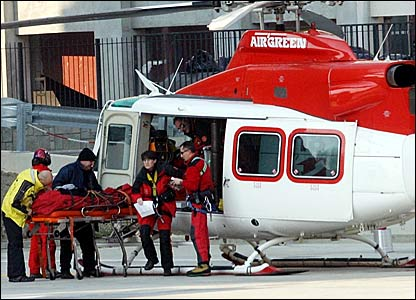 Lindsey Kildow is taken by helicopter to a hospital in Turin