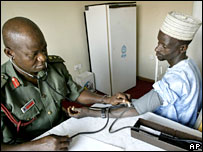 A doctor checks the blood pressure of a Sambawa farm worker