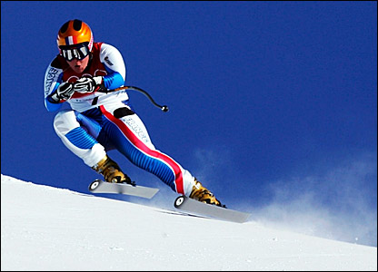 France's Carole Montillet-Carles practices for the women's downhill