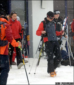 Kate Middleton and Prince William on a skiing holiday, Klosters, Switzerland, 30 March 2005