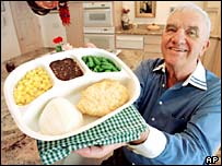 Gerry Thomas with a present-day version of the TV dinner