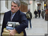 David Irving arrives at the High Court in London