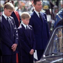 Prince William at his mother's funeral