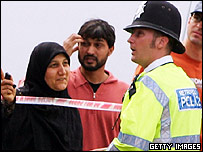 Muslim woman talking to a police officer