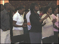 Service at Glory House church, east London