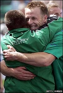 Craig Douglas of Ireland celebrates at Homeless World Cup