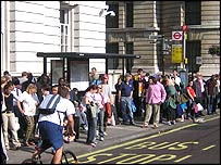 A crowded bus stop on Thursday