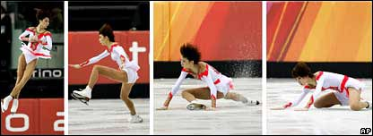Zhang Dan falls during her routine