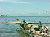Boat on Lake Kivu