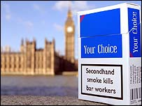 Cancer Research smoking campaign packets and the Houses of Parliament