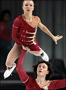 Tatiana Totmianina (top) and Maxim Marinin in action