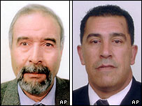 Composite image of Ali Balarousi (left) and Azzedin Belkadi, Algerian diplomats kidnapped in Iraq