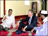 Welsh Secretary Peter Hain with elders of Neath Islamic Centre