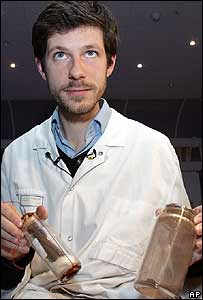 French Dr Philippe Charlier displays the supposed remains of Joan of Arc
