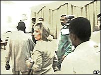 US journalist Andrea Mitchell is taken out of a meeting in Khartoum, Sudan