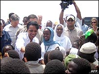 Condoleezza Rice visits the Abu Shouk refugee camp in Darfur, Sudan