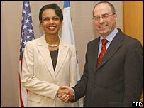 US Secretary of State Condoleezza Rice and Israeli Foreign Minister Silvan Shalom in Jerusalem