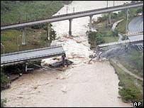 The flooding has caused a partial collapse of a Monterrey bridge
