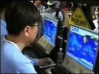A man playing an online computer game