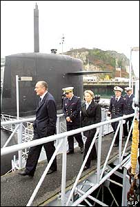 French President Jacques Chirac visits a nuclear submarine